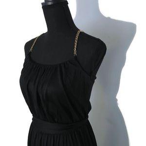 NWT Banana Republic Silk Black Dress Gold Straps